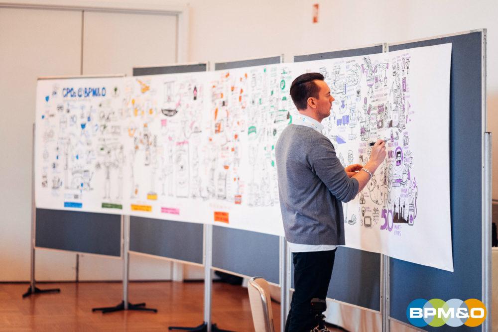 Ein Graphical Designer hält den Kongress bildhaft fest